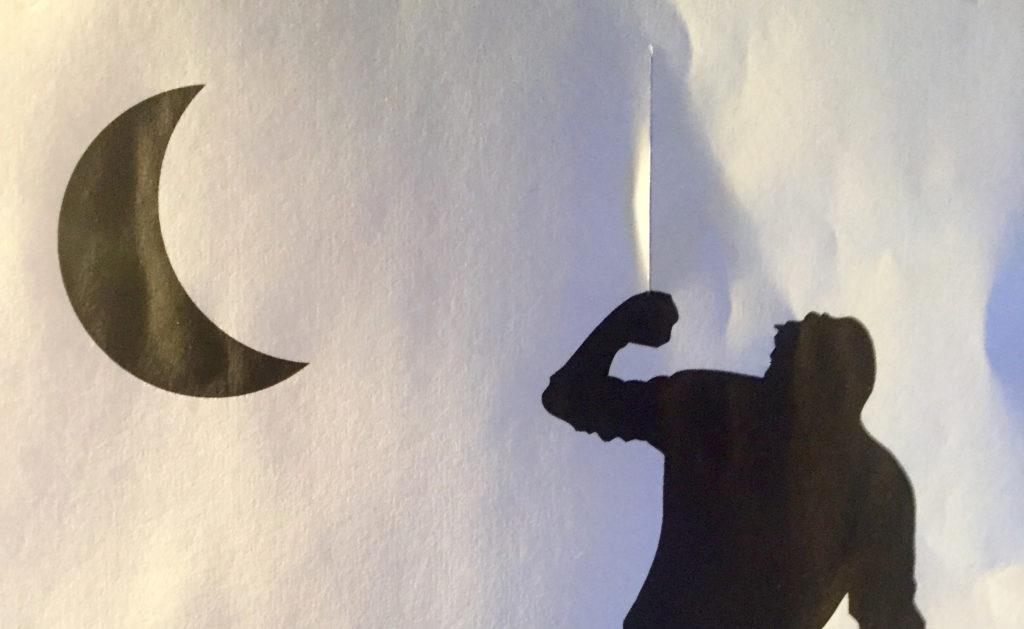 """Tekening van tekstschrijver Jacob die door een snee in het papier kijkt. Illustratie bij artikel """"nut van tekstschrijvers""""."""