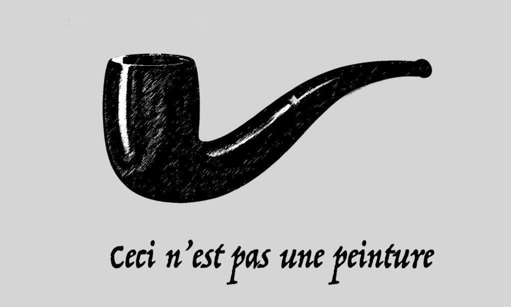 Tekening van Magritte zijn pijp, die geen pientere is. Redigeren, stijlfiguren en slagzinnen: de tekstschrijvers