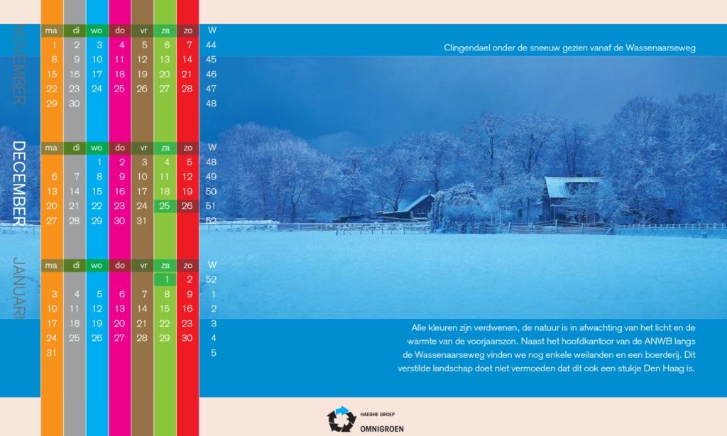 Besneeuwd landschap met kalenderdata, tekstredactie de tekstschrijvers